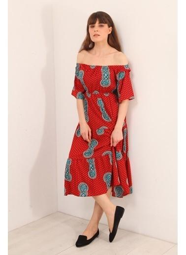 Reyon Desenli Kayık Yaka Uzun Elbise Bej Kırmızı